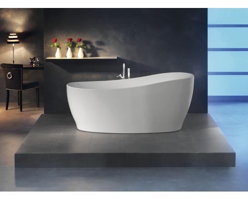 Freistehende Badewanne Sempre 180x85 cm weiß inkl. Ab- und Überlaufgarnitur
