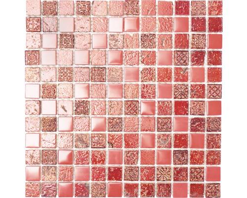 Glasmosaik mit Naturstein XCM CB 92 mix rot 30x32,5 cm