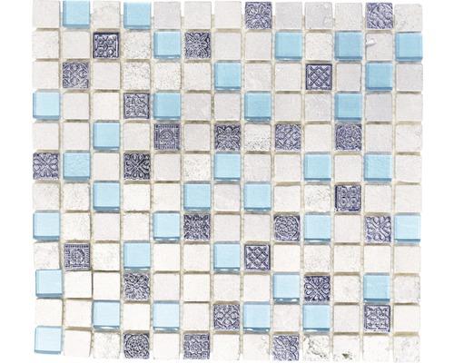 Glasmosaik mit Naturstein XCM CB 65 mix blau 30x32,5 cm