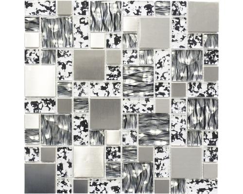 Glasmosaik XCM MC629 schwarz/silber 30x30 cm