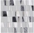 Glasmosaik mit Naturstein XCM LA10 mix weiß 30x30 cm
