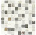 Glasmosaik mit Naturstein XCM R09 weiß/grau 27,3x27,3 cm