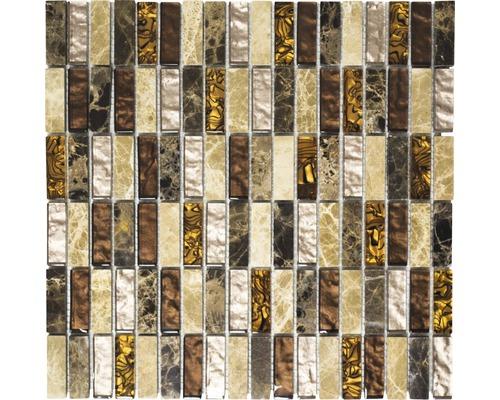 Glasmosaik mit Naturstein XCM SM18 braun/beige 30x30 cm