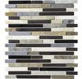 Glasmosaik mit Naturstein XCM MV788 grau/schwarz 29,8x33,8 cm