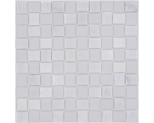 Glasmosaik mit Naturstein XCM R07 mix weiß 27,3x27,3 cm