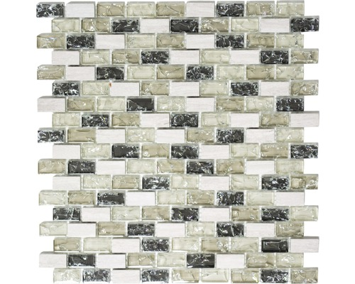 Glasmosaik mit Naturstein XIC B1152 mix graugrün 30x28,5 cm