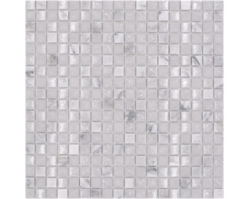 Glasmosaik mit Naturstein XIC 1011 weiß 30,5x30,5 cm