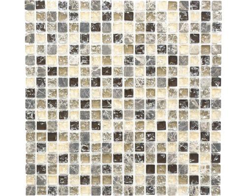 Glasmosaik mit Naturstein XIC 1055 braun/beige 30,5x30,5 cm