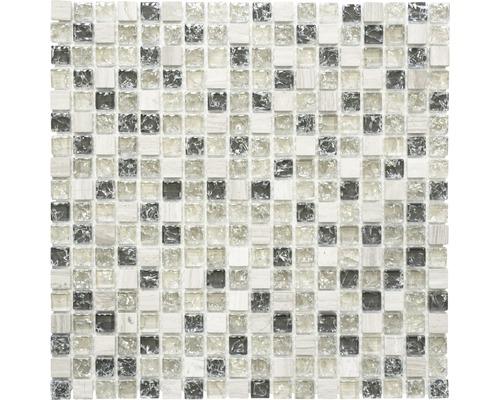 Glasmosaik mit Naturstein XIC 1052 mix graugrün 30,5x30,5 cm