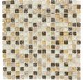 Glasmosaik mit Naturstein XIC 1053 braun/beige 30,5x30,5 cm