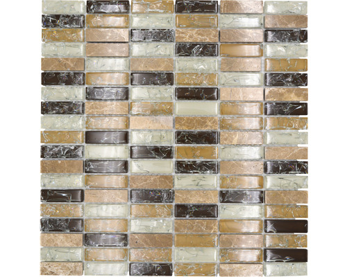 Glasmosaik mit Naturstein XIC S1253 braun/beige 32,2x31 cm