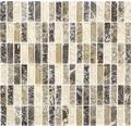 Glasmosaik mit Naturstein XIC S1255 braun/beige 32,2x31 cm