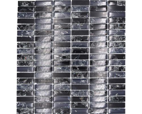 Glasmosaik mit Naturstein XIC S1228 schwarz 32,2x31 cm