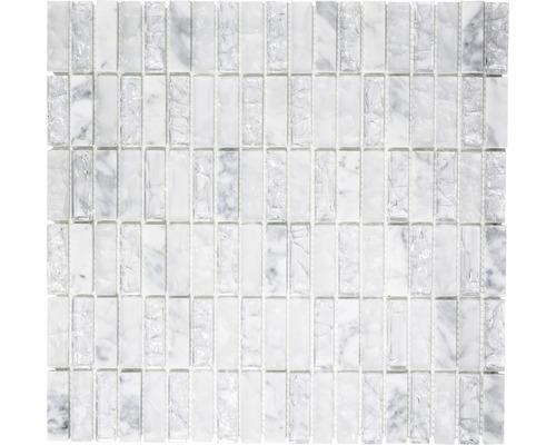 Glasmosaik mit Naturstein XIC S1211 weiß 32,2x31 cm