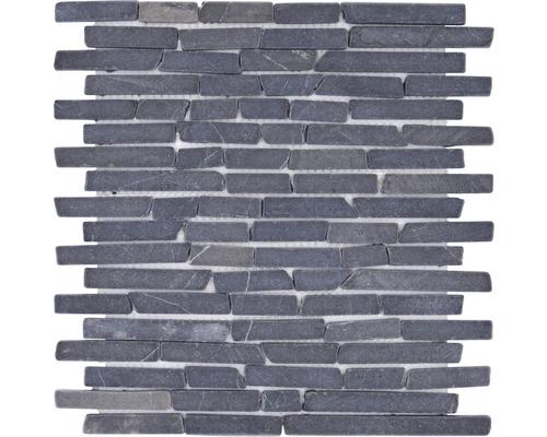 Natursteinmosaik MOS Brick 125 schwarz 30,5x30,5 cm