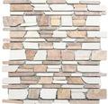 Natursteinmosaik MOS Brick 225 weiß/rot 30,5x30,5 cm