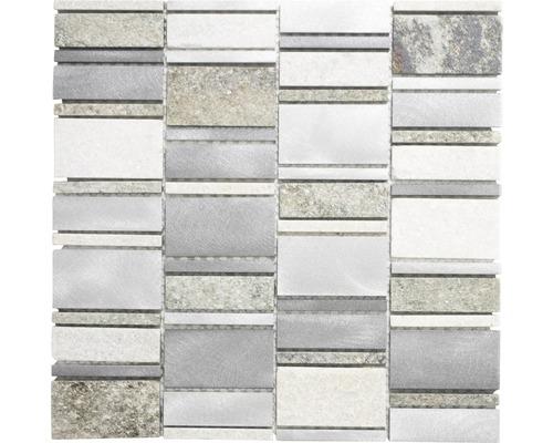 Natursteinmosaik XSA 505 silber/grau 30x30 cm