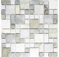Natursteinmosaik XSA 525 silber/grau 30x30 cm