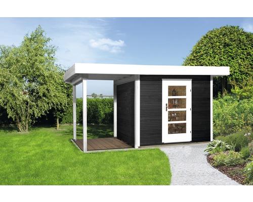 Gartenhaus weka Finline Profil Gr.2 mit Fußboden und Schleppdach 235 x 240 cm anthrazit-weiß