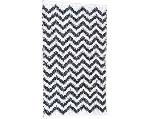 Fleckerlteppich Pana Zick Zack schwarz/weiß 50x80cm