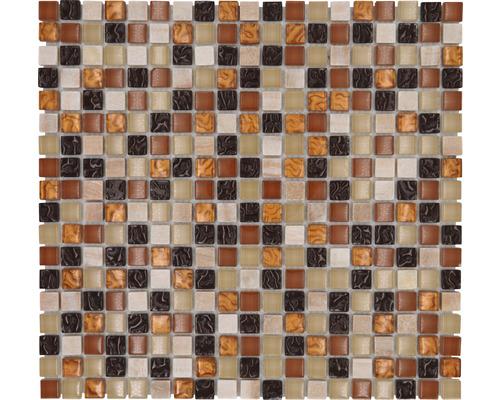 Glasmosaik mit Naturstein XCM M830 32,2x30,5 cm beige/braun