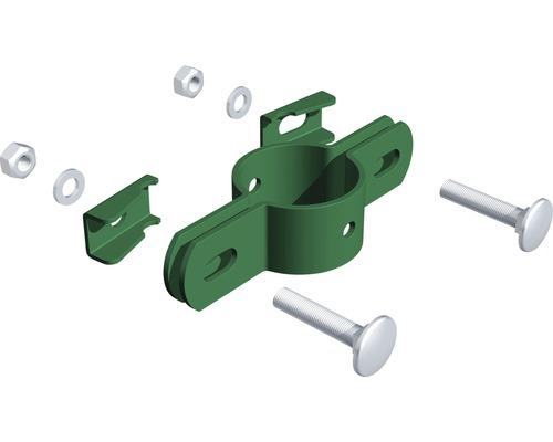 Doppelschelle verzinkt,grün, für Pfosten 34mm