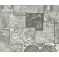 Vliestapete 6643-27 Faro 4 Weltkarte silber/grau