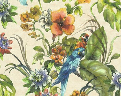 Vliestapete 30015-1 Faro 4 Blumen Papagei beige