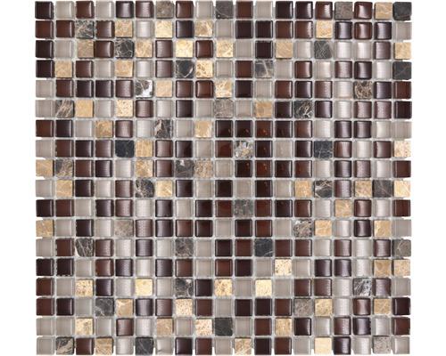 Glasmosaik mit Naturstein XCM M870 1,5x1,5 cm