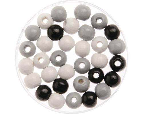 Holzperlen Ø 8mm schwarz-grau-weiß 80-teilig