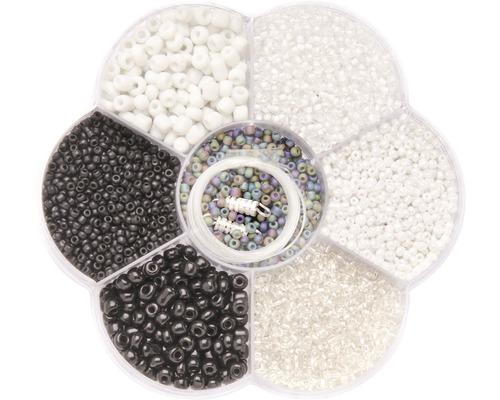 Perlenmix schwarz/weiß