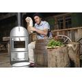 Tenneker® Grill Holzbackofen TC-Italy mit Schornstein und Thermometer grau silber