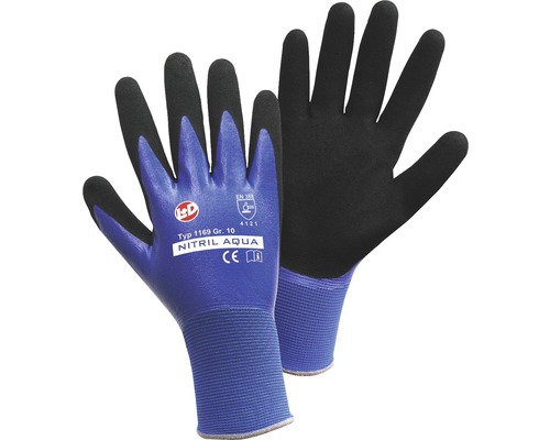 Arbeitshandschuhe Nitril Aqua Nylon blau/schwarz Gr. 8