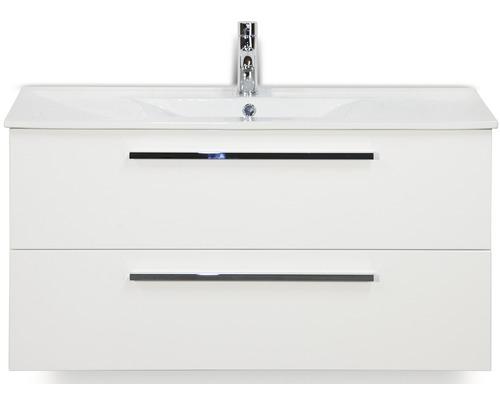 Badmöbel-Set Seville 100 cm mit Keramikwaschtisch Model 1 weiß hochglanz