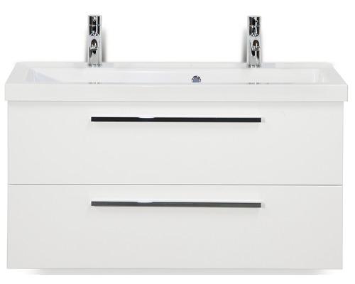 Badmöbel-Set Seville 100 cm mit Waschtisch 2 Hahnlöcher weiß hochglanz