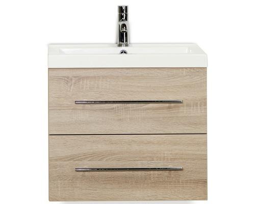 Badmöbel-Set Straight 60 cm mit Waschtisch Eiche grau