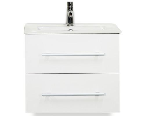 Badmöbel-Set Stretto 60 cm mit Keramikwaschtisch weiß hochglanz