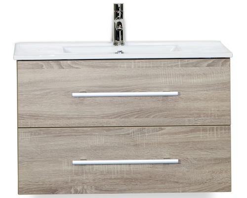 Badmöbel-Set Stretto 80 cm mit Keramikwaschtisch Eiche grau