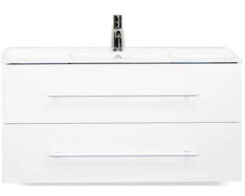 Badmöbel-Set Stretto 100 cm mit Keramikwaschtisch weiß hochglanz