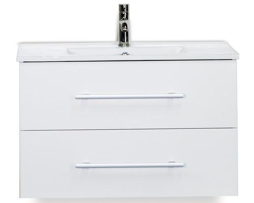 Badmöbel-Set Stretto 80 cm mit Keramikwaschtisch weiß hochglanz