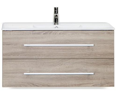 Badmöbel-Set Stretto 100 cm mit Keramikwaschtisch Eiche grau