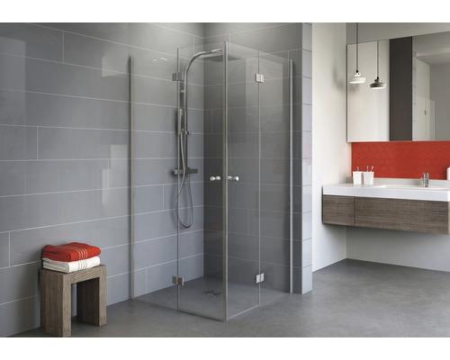 Drehfalttür als Eckeinstieg Schulte Alexa Style 2.0 90x90 cm Klarglas Profilfarbe aluminium