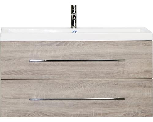 Badmöbel-Set Straight 100 cm mit Waschtisch Eiche grau