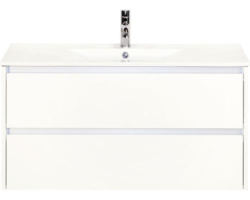 Badmöbel-Set Dante 100 cm mit Keramikwaschtisch weiß hochglanz
