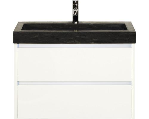 Badmöbel-Set Dante 80 cm mit Natursteinwaschtisch weiß hochglanz
