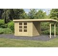 Gartenhaus Karibu Kodiak 4 im Set mit Schleppdach 526 x 217 cm natur