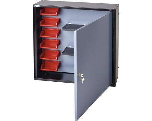 Hängeschrank Küpper Hammerschlag-Silber 600 mm 1 Tür, 2 Böden, 6 Boxen