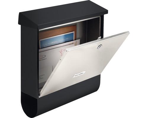 Burg Wächter Briefkasten Stahl London-Set 68670 BxHxT 420/377/115 mm B & S edelstahl/schwarz mit Zeitungsbox