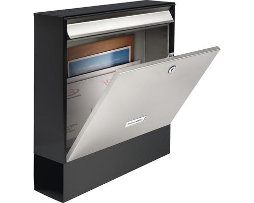 Burg Wächter Briefkasten Stahl Oxford-Set 68770 BxHxT 362/403/100 mm B & S edelstahlfarben/schwarz mit Zeitungsbox