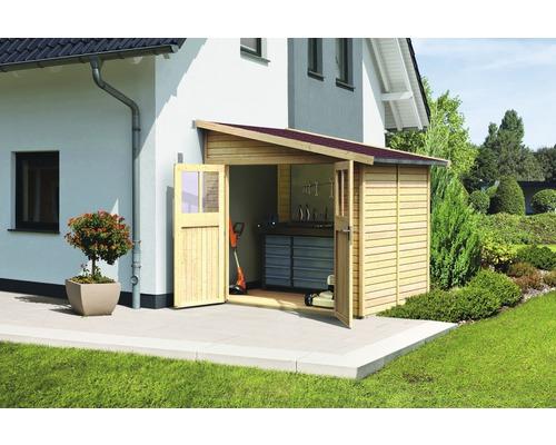 Gartenhaus Karibu Selbitz 2 mit Rankgitter 238 x 181 cm natur